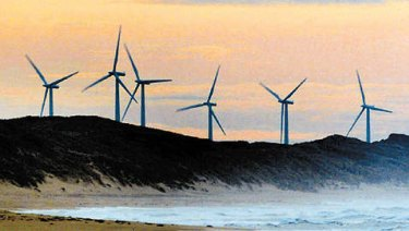 The Codrington wind farm towers along the coastline near Port Fairy.