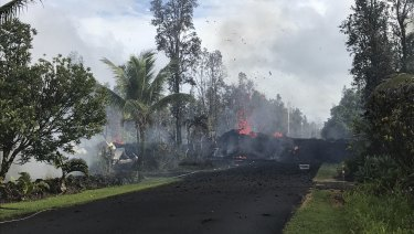 Lava flows in the Leilani Estates subdivision near Pahoa, Hawaii.