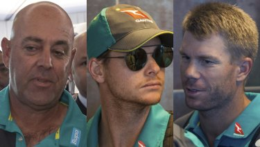 Darren Lehmann, Steve Smith and David Warner at the Cape Town International airport to depart to Johannesburg for the final five day cricket test match.