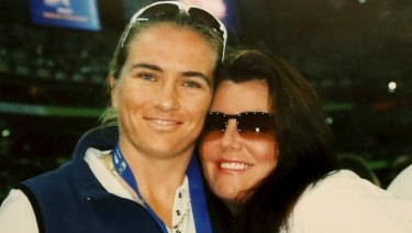 Helen and partner Belinda Davies at the Australian Open.