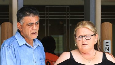 Tammy Davis, the niece of alleged burn attack victim Victor Graveson, leaves the Brisbane Magistrates Court on Monday morning.