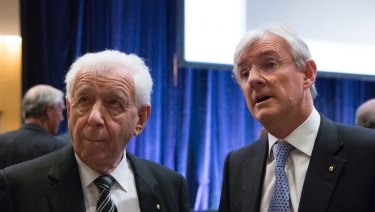 Frank Lowy, pictured with son Steven, and then business partner John Saunders built up their Westfield shopping centre empire from scratch in Australia in the 1960s.