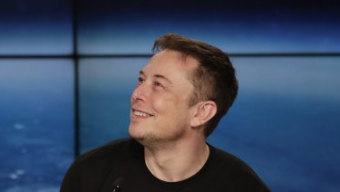 Elon Musk, founder, CEO, and lead designer of SpaceX, speaks at a news conference after the Falcon 9 SpaceX heavy rocket launched successfully from the Kennedy Space Center in Cape Canaveral, Florida.