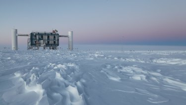 The IceCube observatory, the world's largest neutrino detector, at the Amundsen-Scott South Pole Station in Antarctica.