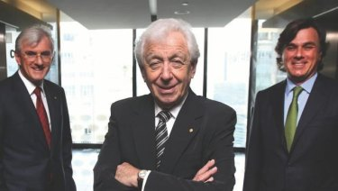 Sir Frank Lowy, centre, with sons Steven, left, and Peter.