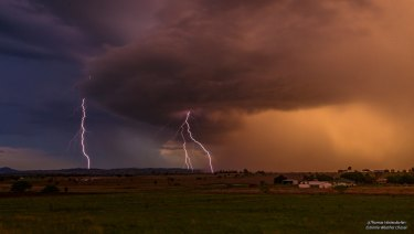 Lightning split the skies above south-east Queensland on Sunday evening and Monday morning. This photo was taken at Mutdapilly.