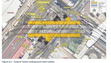 How the underground bus station fits under Melbourne and Grey streets.