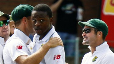 He's back: Kagiso Rabada (centre) will line up against Australia at Newlands on Thursday.