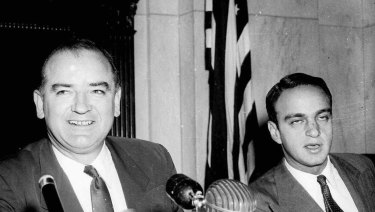 Committee counsel Roy Cohn, seated to the right of Senator Joe McCarthy in 1954, would later give advice to Trump about apologising.