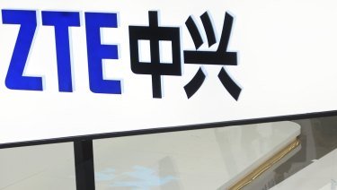 A sign for the ZTE booth is seen at the Mobile World Congress in Barcelona, Spain.