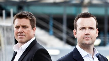 Aconex founders  Rob Phillpot, left,  and Leigh Jasper.