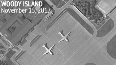 An image provided by the Centre for Strategic and International Studies showing a satellite image of Woody Island annotated by the source, showing two Chinese Y-8 military transport aircraft.