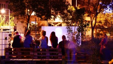 Testing Grounds is a pop-up arts venue on Crown land at the corner of Sturt Street and City Road.