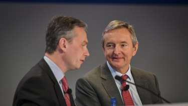 Rio Tinto chairman Simon Thompson (right), with chief executive Jean-Sebastien Jacques at the company's AGM.