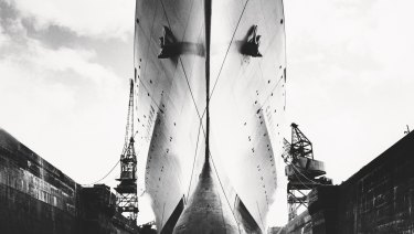 Canberra's bulbous bow photographed in Southamton's King George V dock