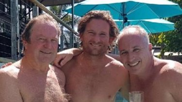 Former Essendon senior coaches Kevin Sheedy and James Hird with Paul Finn (right).
