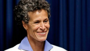 Bill Cosby accuser Andrea Constand smiles after Cosby was found guilty in his sexual assault retrial.