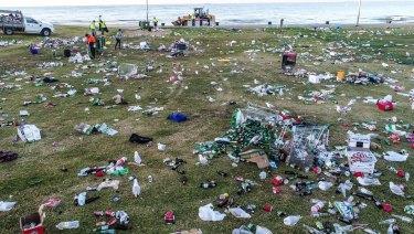 The state of St Kilda beach after Christmas parties last year.