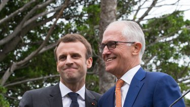 French President Emmanuel Macron and Prime Minister Malcolm Turnbull at Wednesday's press conference at Kirribilli House.