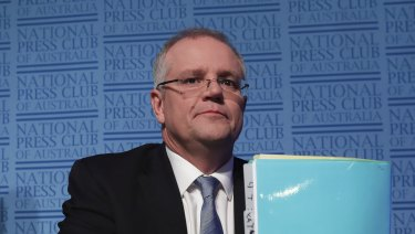 Treasurer Scott Morrison addresses the National Press Club following the budget.