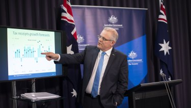 Treasurer Scott Morrison takes the media through the national accounts on Wednesday
