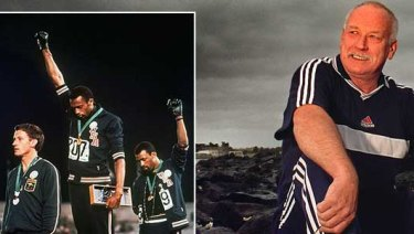 Peter Norman in 2000 and, inset, receiving his medal in 1968 in Mexico.
