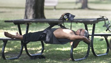 A man relaxes under a tree in a park in hot Montreal, Canada.