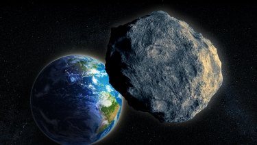 An asteroid and Earth in an artist's rendering.