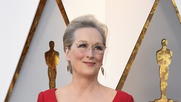Actress Meryl Streep arrives at the Oscars on Sunday, March 4, 2018, at the Dolby Theatre in Los Angeles.