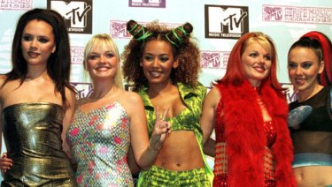 Where it all began ... Victoria Beckham aka Posh Spice poses with her bandmates, The Spice Girls.