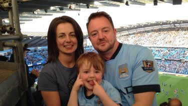 """Joanne Finch, Lee Moran and Brodie. Mr Moran has paid tribute to his son, saying """"I love and miss my little fella""""."""