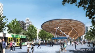 The new Anzac station at the St Kilda Road entrance.
