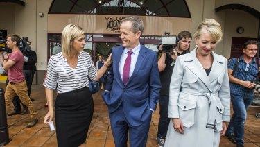 Bill Shorten in the electorate of Longman with Susan Lamb, left, and his wife Chloe Shorten.