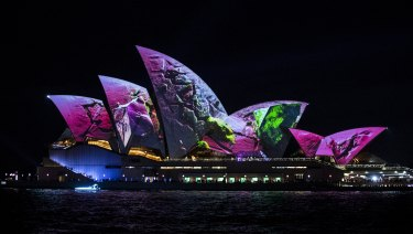 The Sydney Opera House sails are lit for the 10th anniversary of Vivid on Friday.
