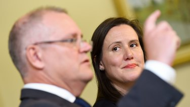 Financial Services Minister Kelly O'Dwyer with Treasurer Scott Morrison.