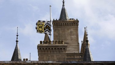 The flag flies at half mast at Gonville and Caius College, Cambridge, England, after the death of British scientist Stephen Hawking.