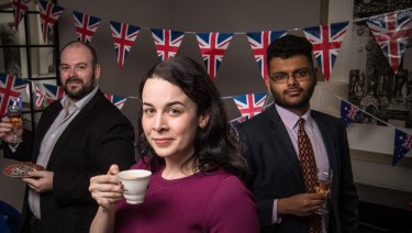 Monarchists Mark Salmon, Laura Smith and Satya Marar are preparing to celebrate as they watch the Royal Wedding on Saturday.
