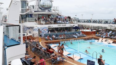 One of many pools on the pool deck of Royal Caribbean's 374-metre long Ovation of the Seas, which is the largest cruise ship in Australia.