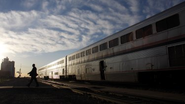 A California Zephyr train runs between Chicago and San Francisco.