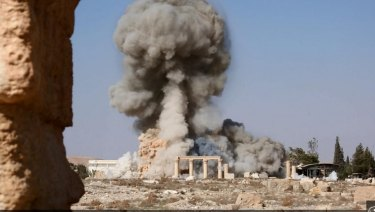 An explosion at Palmyra, Syria, during its occupation by the Islamic State militant group.