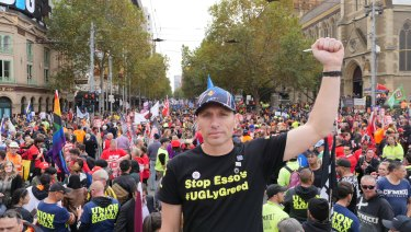 Esso workers protesting in Melbourne, including Troy Carter