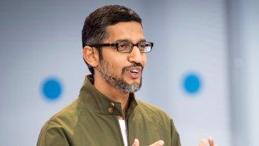 Sundar Pichai speaks at Google I/O.