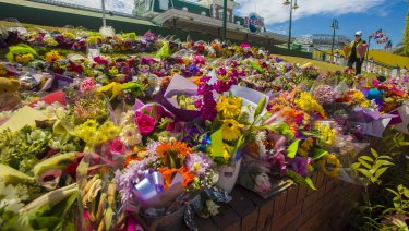 Floral tributes at Dreamworld in 2016.