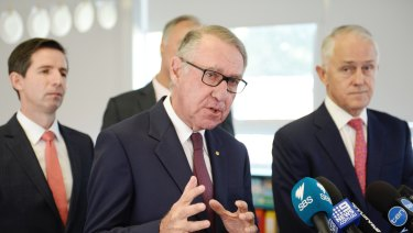 Prime Minister Malcolm Turnbull and David Gonski visited Ermington West Primary School on Monday.