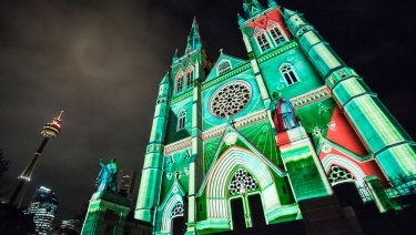 St Mary's Cathedral lit up at Christmas.