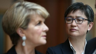 Foreign Minister Julie Bishop and Senator Penny Wong in Canberra.