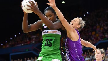 On fire: Jhaniele Fowler is the form shooter in Super Netball.