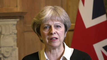 """British Prime Minister Theresa May announcing early on Saturday morning that she has authorised British armed forces to """"conduct coordinated and targeted strikes""""."""