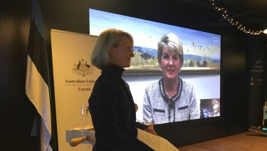 Foreign Minister Julie Bishop beamed in to Australia's pop-up embassy in Estonia.