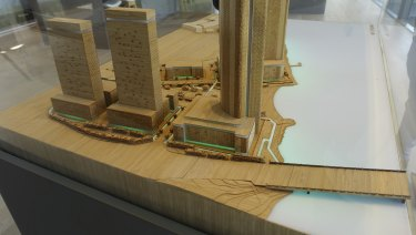 Waterbank project model, with Causeway Bridge in foreground.